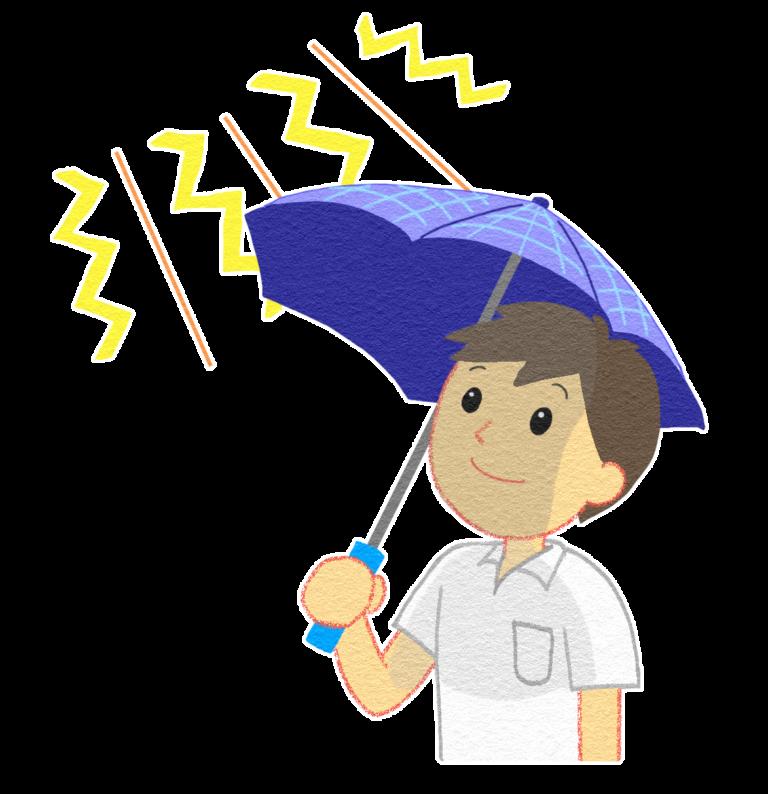 日傘をさす男の人